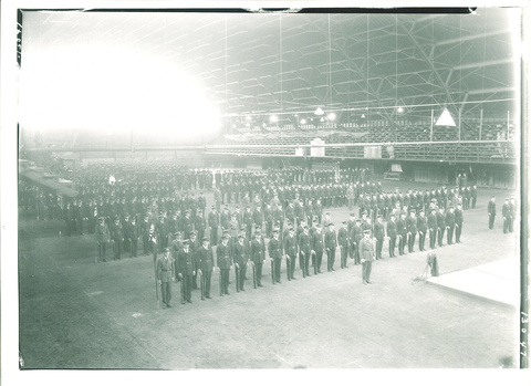 Soldiers Lined up Inside Armory